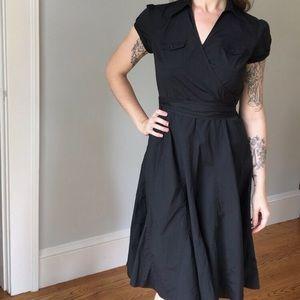 Black Cap Sleeve Wrap Dress